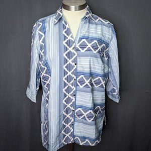 NY Collection Womens Top Shirt Plus 1X Blue